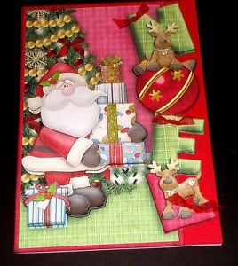 Handmade Greeting Card 3D Christmas with Santa Noel