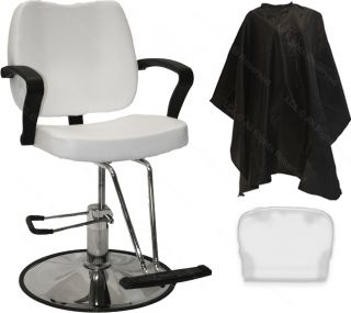 New Hydraulic White Barber Styling Chair Hair Cutting Spa Beauty Salon Equipment