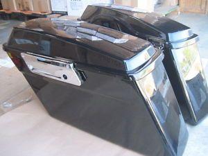 Returned Black Touring Hard Case Side Box Saddle Bag for Harley Softail Dyna