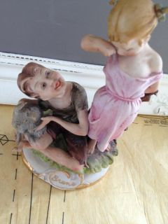"Bruno Capodimonte Figurine Boy Girl Dog Charming Detail 7"" by 4 5"""