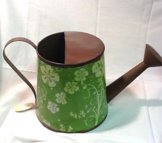 Metal Decoupage Watering Can Green White Flower Hawaiian Decorative Garden Decor