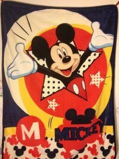 New Disney Mickey Mouse Blanket Microvelvet Soft Throw Plush 40x50 Great Gift