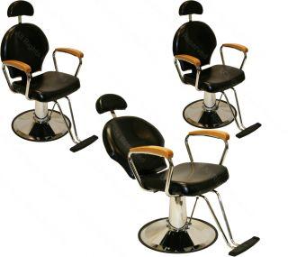 3 All Purpose Hydraulic Reclining Barber Chair Natural Oak Arms Salon Equipment