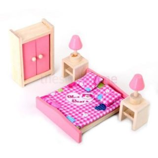Dollhouse Furniture Wooden Bedroom Set Toy Kids Pretend Play Set for Doll Pink