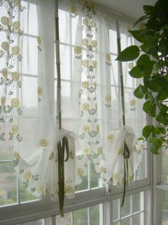 Embroidered Yellow Sunflowers Balloon Shade Sheer Voile Cafe Kitchen Curtain E03