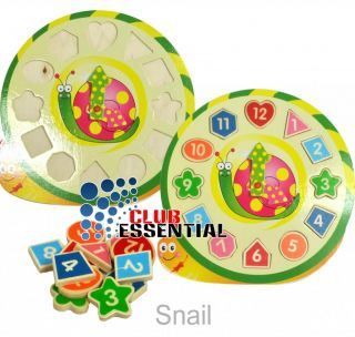 Children's Educational Learning Clock Snail Jigsaw Puzzle Wooden Toy