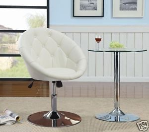 Contemporary Round Tufted White Swivel Chair by Coaster Furniture 102583