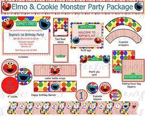 Elmo Cookie Monster Birthday Party Package Printable Custom Invitation