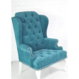High End Turquoise Velvet Tufted Wing Chair