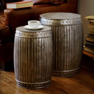 Natural Steel Round Barrel Style Living Room Chair Accent 2 Piece End Table Set