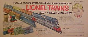 1953 Lionel Trains Model Pennsylvania Railroad Horn Blaring Diesels Kids Toy Ad