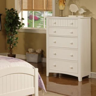 Poundex Classic White Wood Youth Bedroom Chest w 5 Storage Drawers Bun Handles