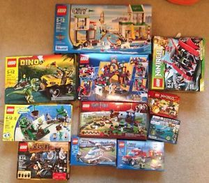 11pc Lot Kids Toys Boxes Legos Ninjago Spongebob Hobbit Batman w Instructions