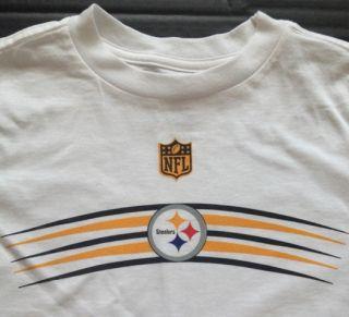 NFL Team Apparel Kids Pittsburgh Steelers Football White Gold Logo Tee Shirt 5 6