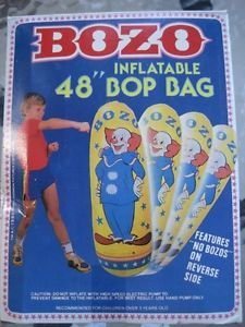 "Bozo The Clown 48"" Inflatable Bop Bag Punching Vintage 1985 Kids Imperial Toy"