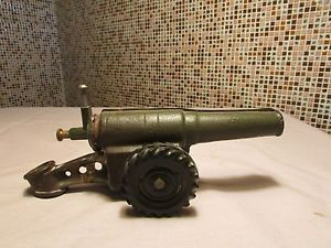 Vintage Cast Iron Big Bang Cannon Toy Old Military War Gun Tank Kids Antique