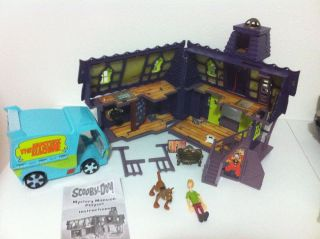 Scooby Doo Toy Lot Mansion Mystery Machine Shaggy House Van Car EUC