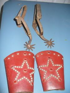 Cowboy Spurs and Studded Sleeve Cuffs Child Size Western Vintage Clothing