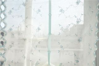 Country Style Hand Embroidered Blue Roses Balloon Shade Sheer Voile Curtain E18