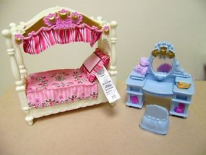 Fisher Price Loving Family Kids Bedroom Canopy Princess Bed Vanity Girls Set Lot