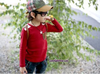 Kids Boys Korean Style Toddlers Badge Long Sleeve Dress Shirts T Shirt Tops T11