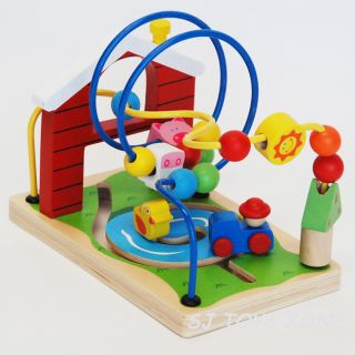 Wooden Farm Wise Beads Maze Educational Learning Activity Rollercoaster 2 Tracks