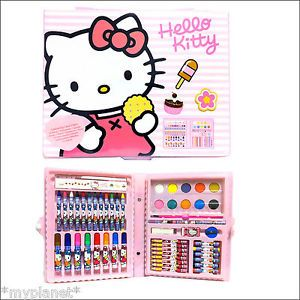 Colouring Carry Case Official Hello Kitty 51 Piece Kids Fun Art Gift Set Toy New