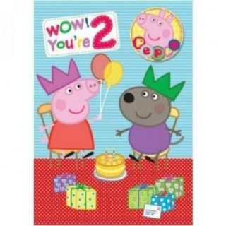 Peppa Pig Age 2 2nd Happy Birthday Card with Badge