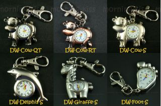 Kid's Children Quartz Keychian Pocket Watch Foot Cow Delphis Giraffe Animal DW