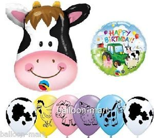 Kids Party Supplies 8 Balloons Farm Barn Animal Cow Print Decorations Western XL
