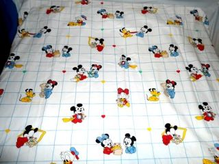 Vtg 1984 Disney Babies Mickey Mouse Minnie Donald Daisy Duck Crib Sheet Fabric