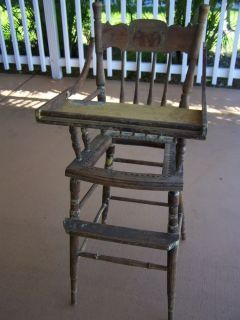Antique Oak Spindle Back Victorian Baby High Chair Needs TLC A Project for You