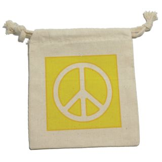 Peace Sign Symbol Yellow Muslin Cotton Gift Party Favor Bags