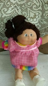 Vintage Cabbage Patch Kids 1985 Brown Hair White Girl Doll Pink Dress