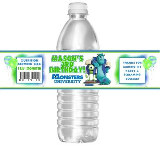 Monsters University Birthday Water Bottle Labels Party Favors
