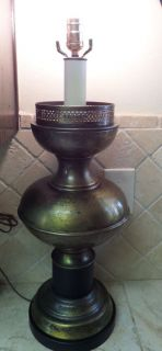 Vtg Tell City Chair Company Indiana Weathered Brass Black Large Table Lamp