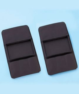 Set of 2 Black or Brown Chair Sofa Arm Rest Tray TV Remote Organizer Pockets