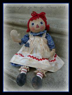 Antique Reproduction Waving Raggedy Ann Doll C 1950's OOAK Primitive Doll