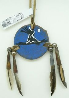 """Apache Hand Painted 2 """" Shield Native American Indian"""