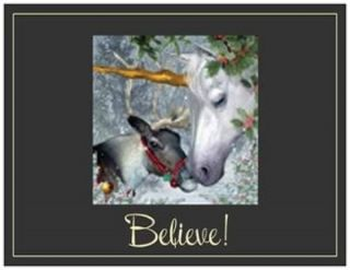 20 Christmas Unicorn Elk Greeting Postcards Post Cards Printed US or Canada