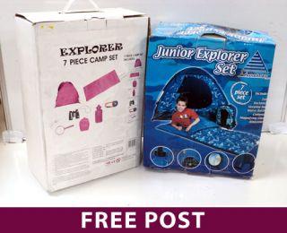 2 x Kids Outdoor Explorer Camping Sets 1 x Pink 1 x Blue Tents Bags Etc Q3ZE