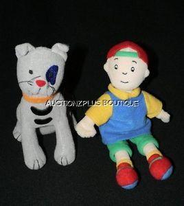 "Caillou Gilbert Cat Bean Bag Plush Toys PBS Kids Show 5 7"" Small Dolls RARE"