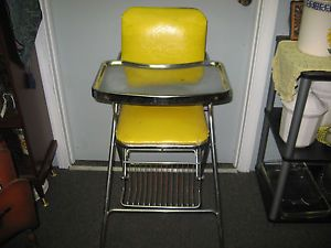 Antique Vintage Cosco Yellow Baby High Chair Doll Retro Cool 1950'S