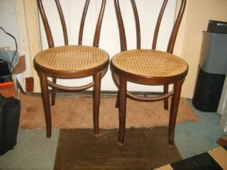 2 Michael Thonet Style Cane Seat Bottom Chairs 1859