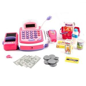 Electronic Cash Register Pretend Play Toy Realistic Sounds Actions 3 Styles