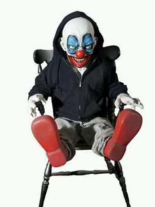 Giggles The Clown Halloween Animated Rocking Chair Prop See Video