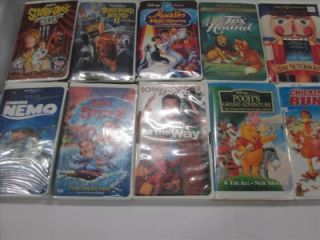 Lot of 160 Children's Kids VHS Tapes Cartoons Movies Pinocchio Babe Toy Story