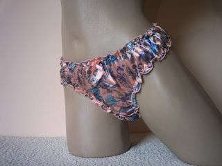 Cute Girly Floral Print Salmon Satin Bikini Style Knickers Panties M L