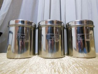 Premier Housewares Silver Enamel Tea Coffee and Sugar Canisters with Lid