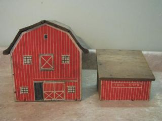 Red Barn Tool Shed Vintage Antique Primitive Wooden Toy Play Set Farm Ranch